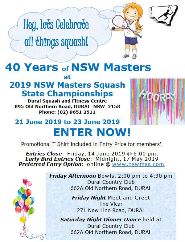 2019 NSW Squash Masters Titles