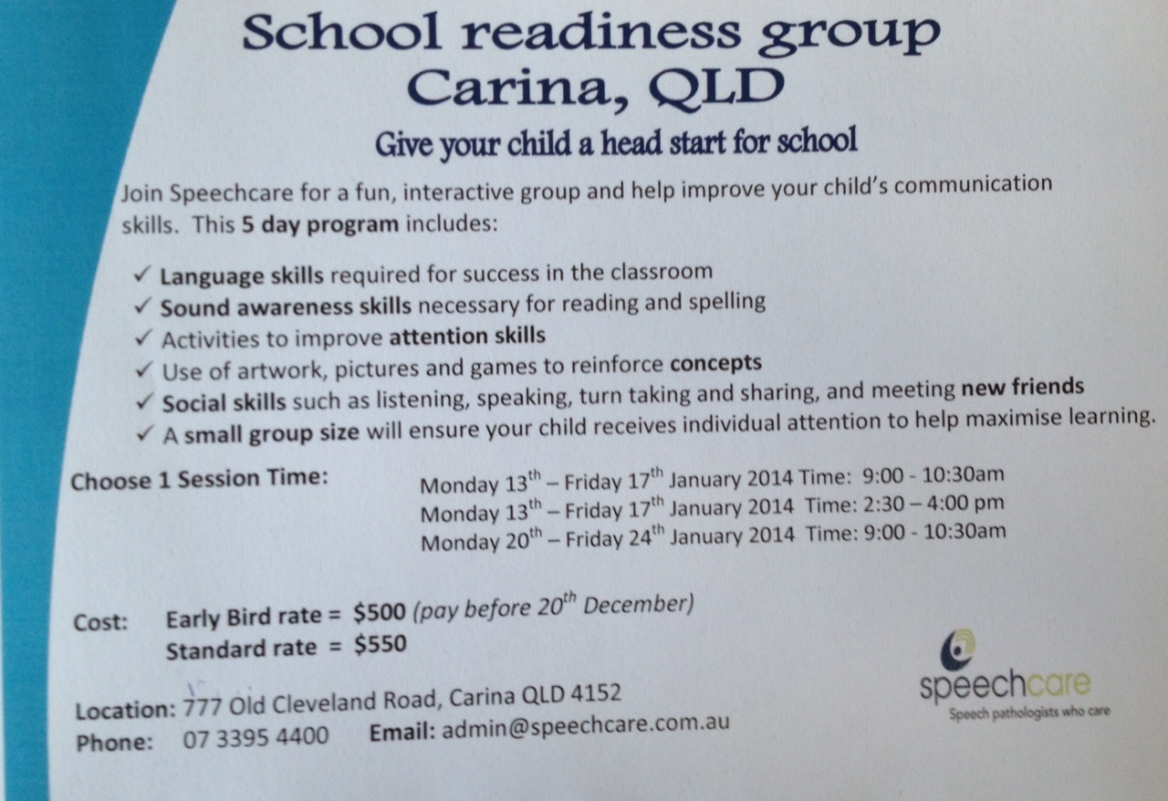 Carina/Brisbane QLD School Readiness Program PREP